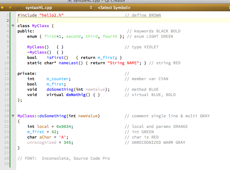 Syntax Highlight with QtCreator